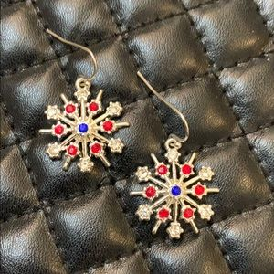 Vintage Silver Crystal Snowflake Winter Earrings